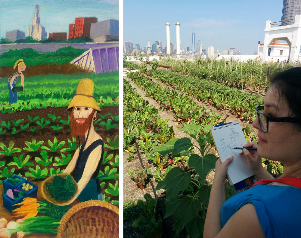 drawing brooklyn rooftop farm